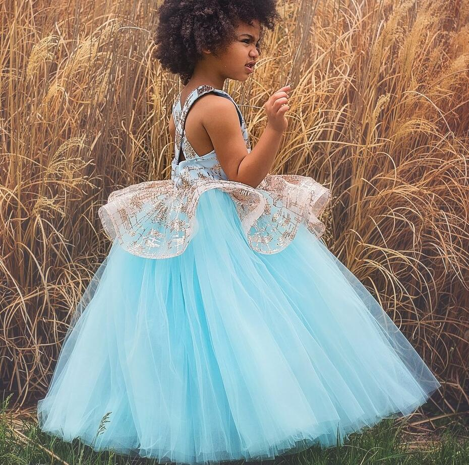 a05d61db27b South Arabic blue puffy tulle gold bling ball gown flower girl dress kids  princess birthday party