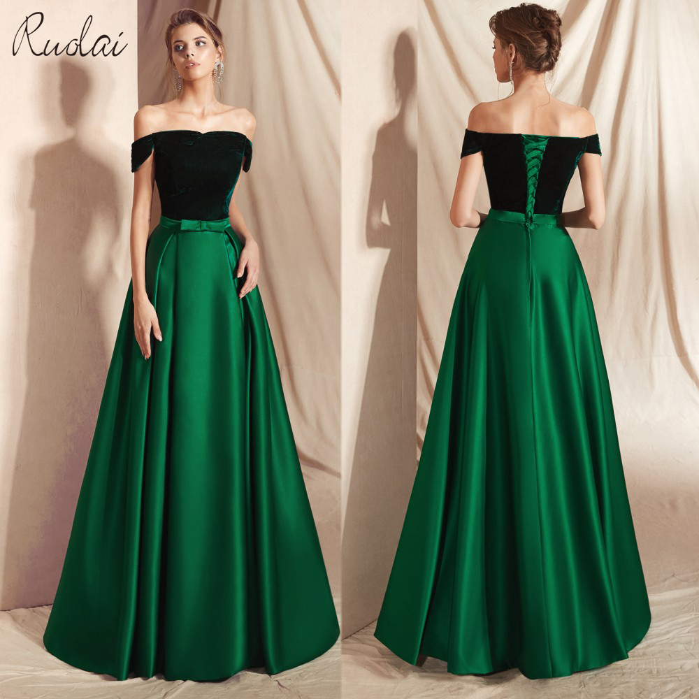 Elegant Velvet   Evening     Dress   2018 Off-Shoulder Floor Length   Evening   Gown Women   Evening     dresses   Long vestidos de fiesta