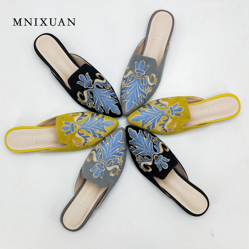 MNIXUAN slippers women summer casual 2018 new mules flats embroidered ladies pointed toe low heels Lazy shoes big size 40 34-42