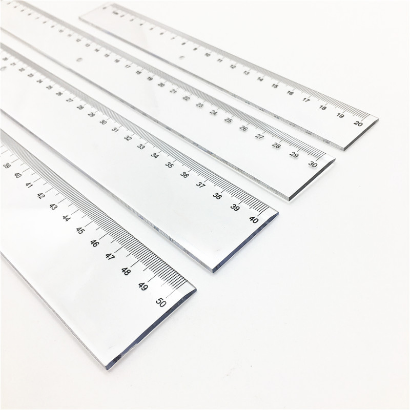 1PC Transparent Plastic Straight Ruler Sewing 20-50cm Teaching Tools Student Drawing Measuring Rulers Office School Supplies