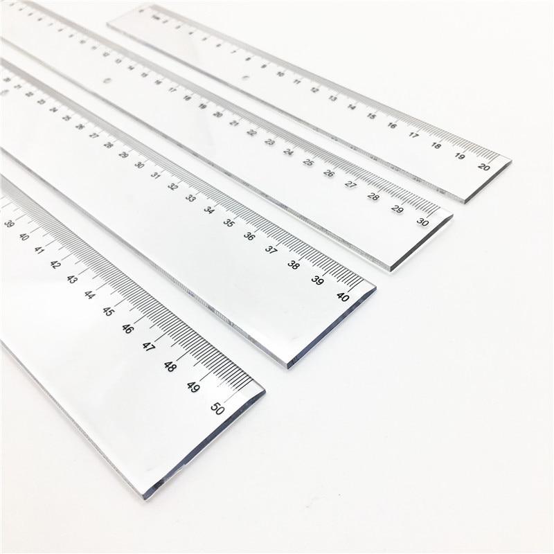 1 UNID Plástico Transparente Regla Recta 20 30 40 50 cm Herramientas - Escuela y materiales educativos