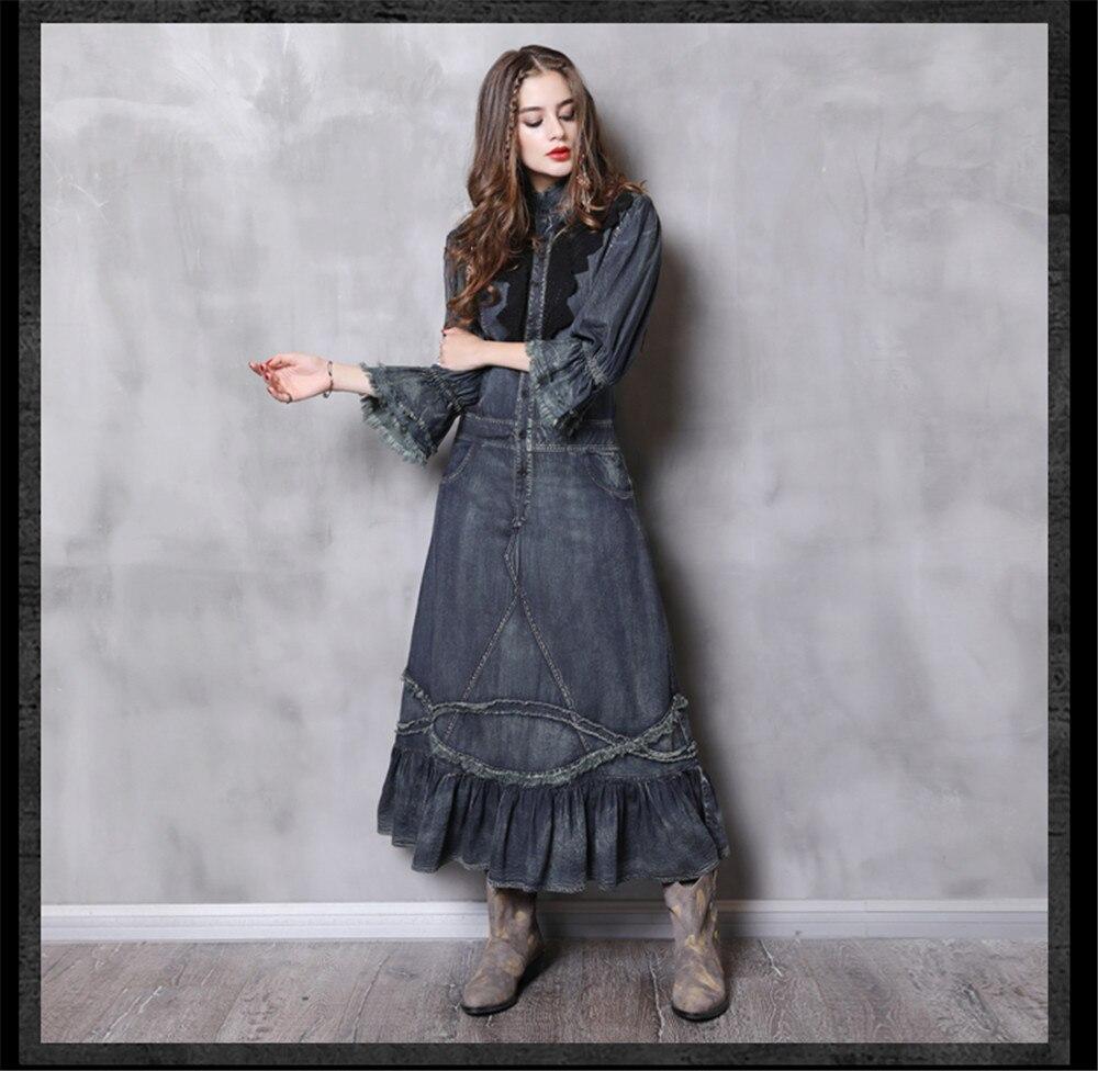 Vintage Autumn Dress Women With Pockets 2018 New Denim Dresses Stand Collar Long Elegant Lace Patchwork Vestidos Femininos (10)