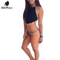 Bikini High Neck Swimwear 2016 Summer New Arrival Sexy Shell Women Swimsuit Bathsuit Black Brazilian Backless