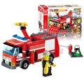 J310 juguetes educativos! nueva llegada 206 unids camión de bomberos bloques de construcción pequeñas partículas DIY juguetes figuras de acción mejor regalo para el niño