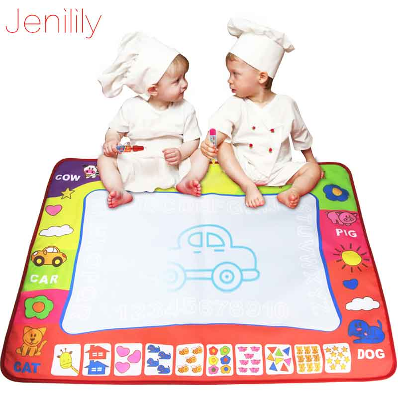 Jenilily 80x60cm Water Painting Mat 2 Drawing Pen Water Drawing Play Mat/water draw rug/coloring mat for kid toys JN1308