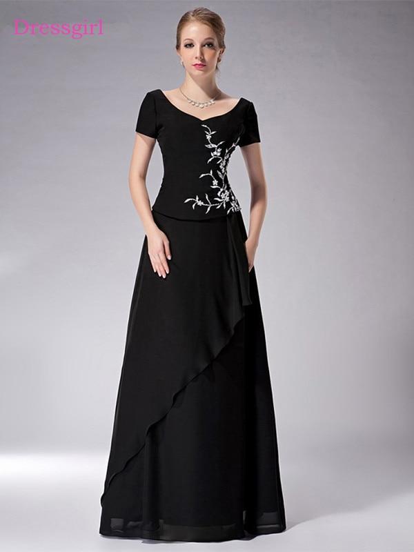 Black 2019 Mother Of The Bride Dresses A-line V-neck Cap Sleeves Chiffon Embroidery Long Elegant Groom Mother Dresses Wedding