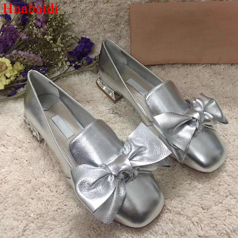 Hanbaidi Spring Fashion Shallow Female Loafer Shoes Real Leather Slip On Big bowknot Women Flats Street Style Gladiator Shoes 41 cresfimix women cute spring summer slip on flat shoes with pearl female casual street flats lady fashion pointed toe shoes
