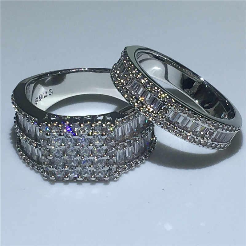Choucong Роскошные обещания кольцо набор Принцесса cut 5A Циркон Cz 925 пробы серебро обручальное кольца для мужчин и женщин подарок