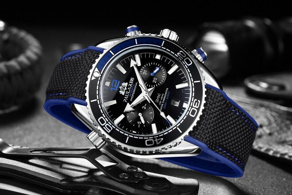 HTB1DP1fdEGF3KVjSZFvq6z nXXa9 Men Automatic Self Wind Mechanical Canvas Rubber James Bond 007 Style Orange Blue Multifunction Date Month Sport Watch