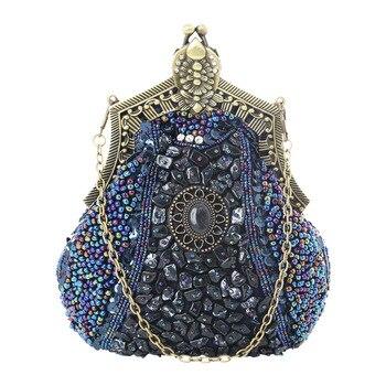 Embroider Beads Women Evening Party Bags Handmade Vintage Clutch Female Phone Purse Banquet Wedding Bridal Gifts Dress Handbags 1