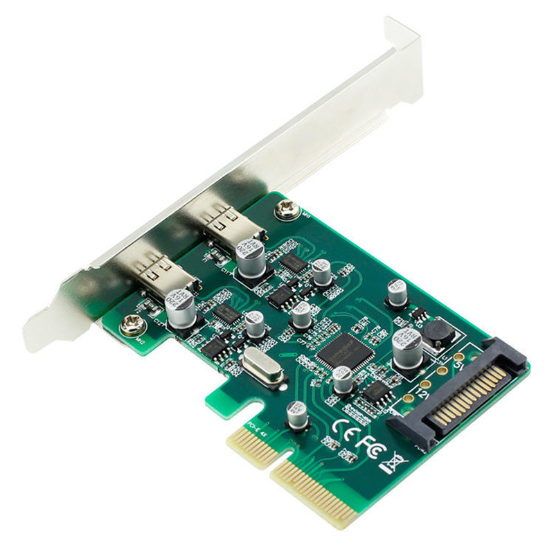 10Gbps Expansion Cards PCI-E Express 4X to Type-C Extension Card Adapter with SATA Power for Desktop PC