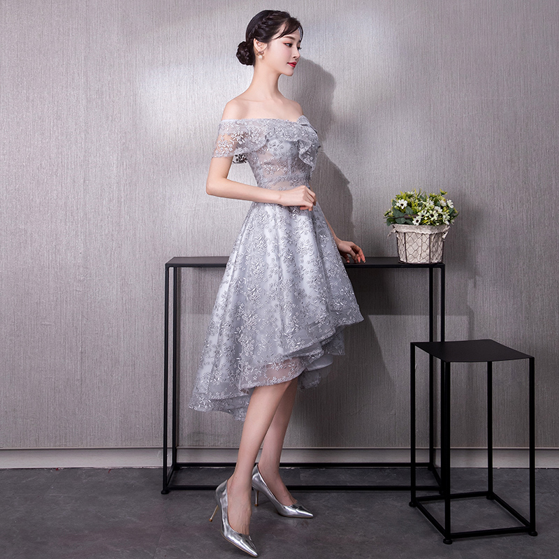Hes Bride Custom Cheap Party V-neck Long Sleeves Zipper Back Above Knee Mini Grey Cocktail Dress Vestido De Cocktail Cocktail Dresses