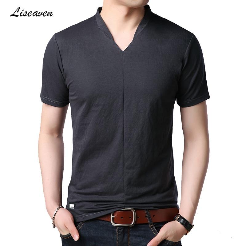 Liseaven 2019 T-Shirts Mens Casual T-shirt Men's Summer Short Sleeve V Neck T Shirt Short Tee Shirt Tees Tops