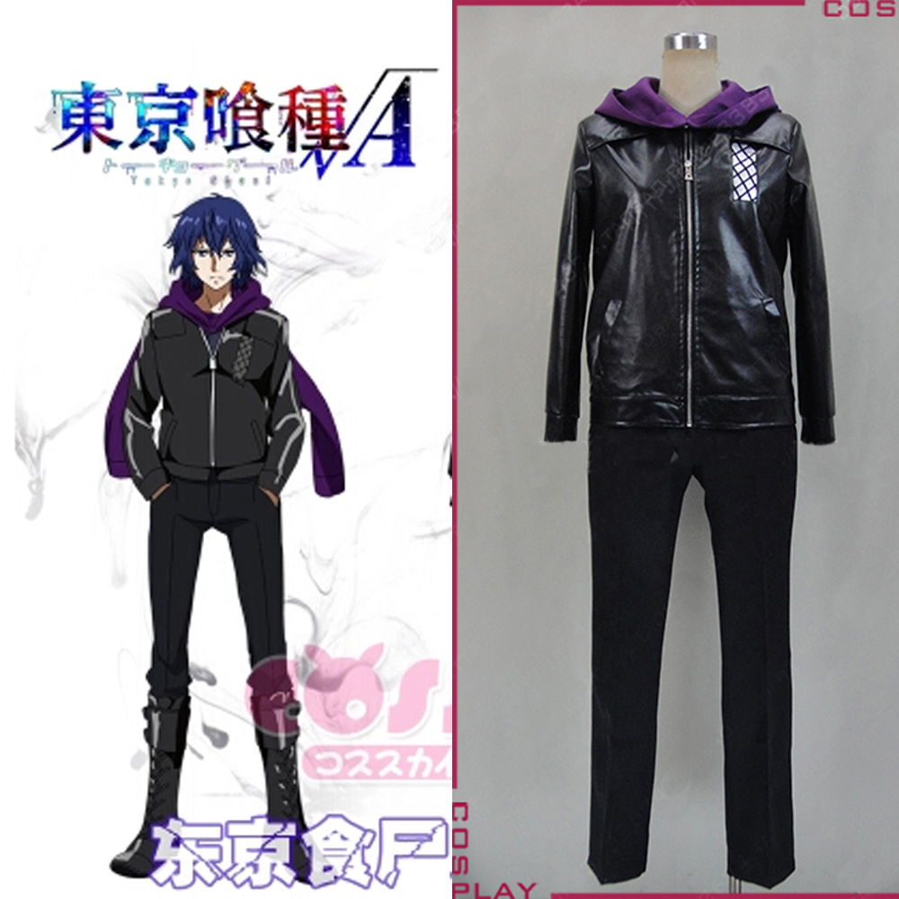 adult halloween costumes for men tokyo ghoul Kirishima Ayato cosplay Costume anime clothes for men Leather jacket with Scarf