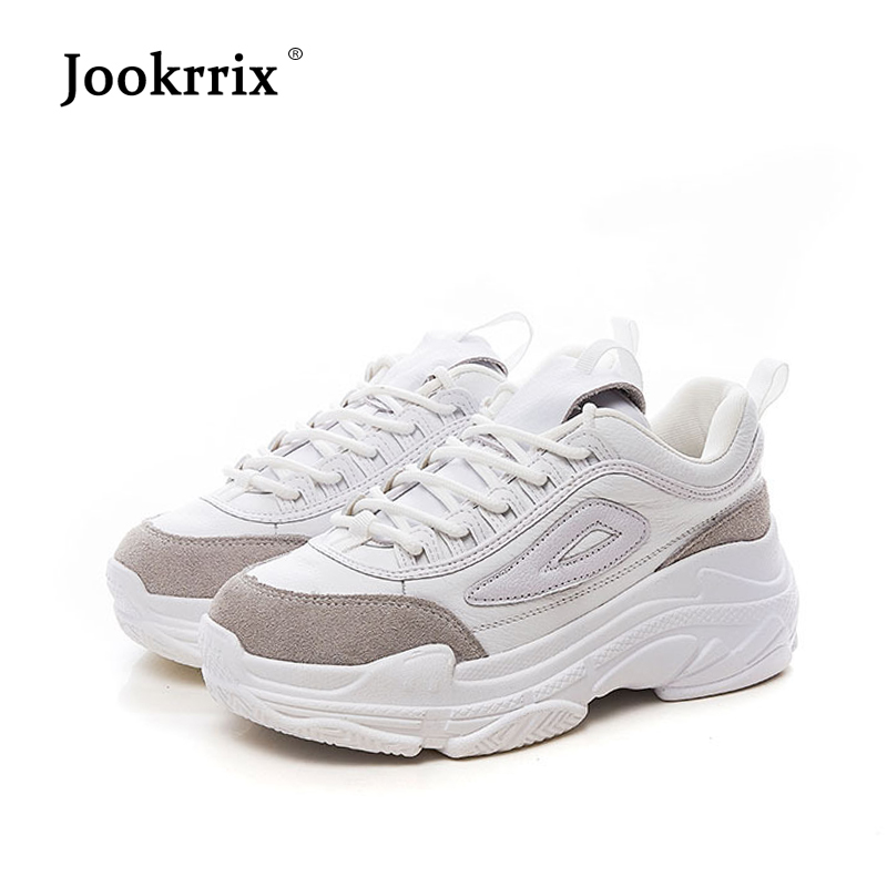 Jookrrix 2019 Autumn New Real Leather White Shoes Women Chaussure Adult Girl Platform Sneakers Cross tied