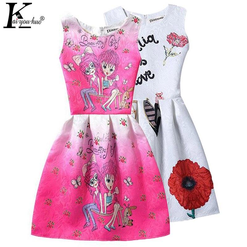 Girls Dress Print Christmas Dresses Girls Clothes Sleeveless Formal Children Vestidos 5 6 7 8 9 10 11 12 Years Costume For Kids