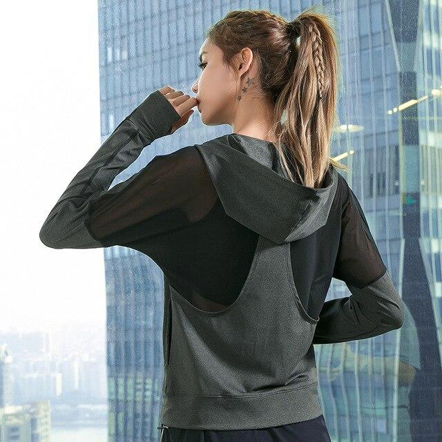 Phụ nữ Chạy Áo Khoác Trùm Đầu Dây Kéo Áo Khoác Thể Thao Windproof Dài Tay Áo Yoga Áo Sơ Mi Ngoài Trời Tập Thể Dục Phòng Tập Thể Dục Workout Tops Thể Thao
