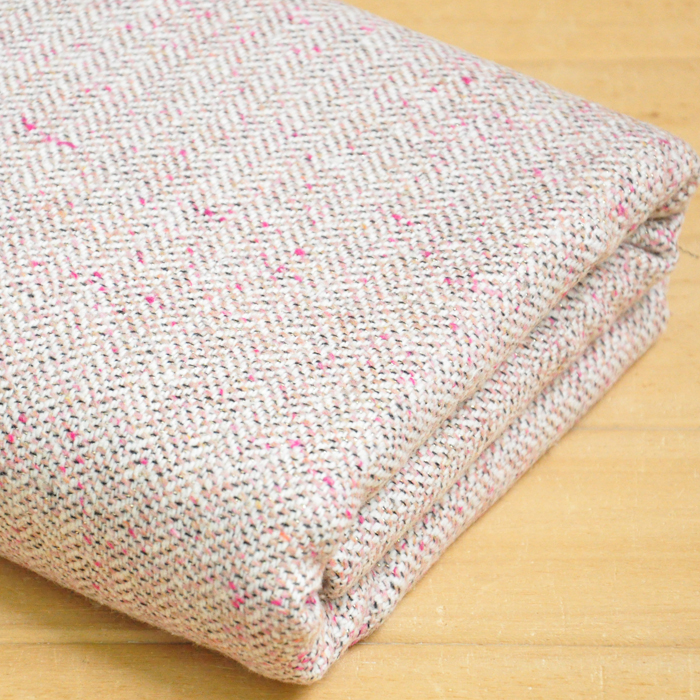 free ship wool tweed fabric warm color weaved herringbone light pink with gloden line weaved pattern price for 1/2 yard 59