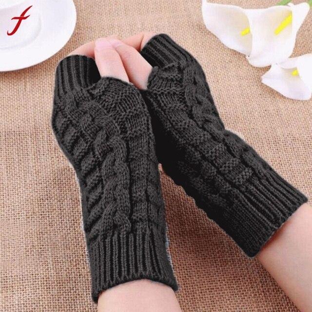 cdd9ebd9b2ea Feitong 2018 Halb Finger Handschuhe Für Frauen Winter Warme Wolle Stricken  Arm Handschuhe Weiche Warme Handschuhe