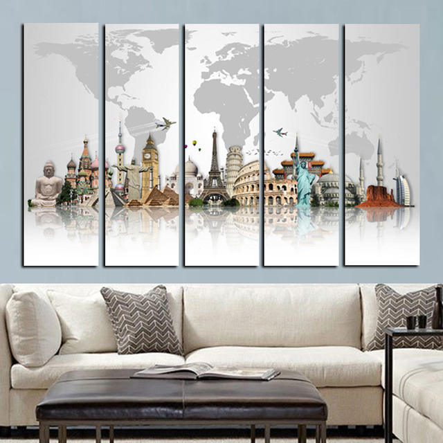 5panel large size hd prints 3d world famous buildings on canvas wall rh aliexpress com Animal Print Living Room Decorating Ideas Animal Print Living Room