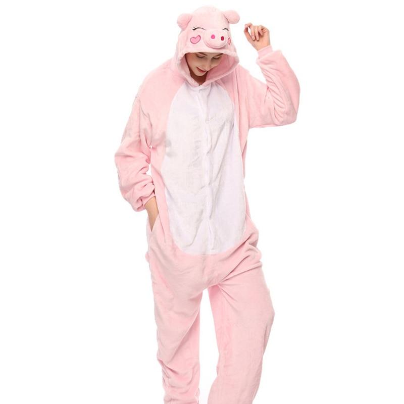 Wholesale Animal   pajama     sets   Adult Unisex Cosplay one piece Pig pyjamas Flannel Hooded Cartoon warm Onesie Sleepwear suit
