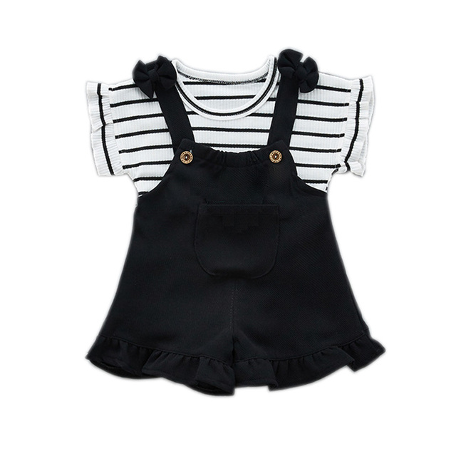 Fashion Girls Clothing Sets 2018 Summer Baby Girls Clothes Kids Cotton Striped Tops+Braces 2PCS Children Clothes Sets Kids Suit