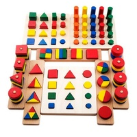 8 In 1Set Montessori Birthday Gift Teaching Toy Geometry Shape Learning Classic Blocks Wooden Toys Baby