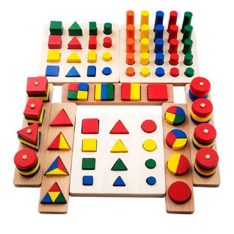 SUKIToy de Kid Doux Montessori En Bois Blocs Jouet 8 En 1 set Forme Géométrique correspondant d'apprentissage de haute qualité classique éducatifs