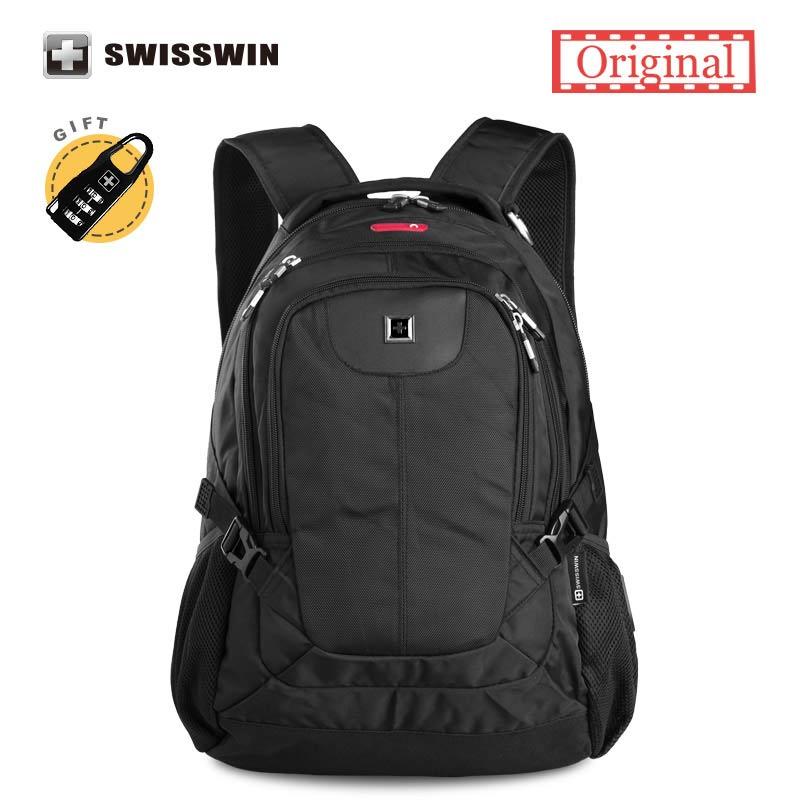 цена на Swisswin Quality Black Business Laptop Backpack Male 15