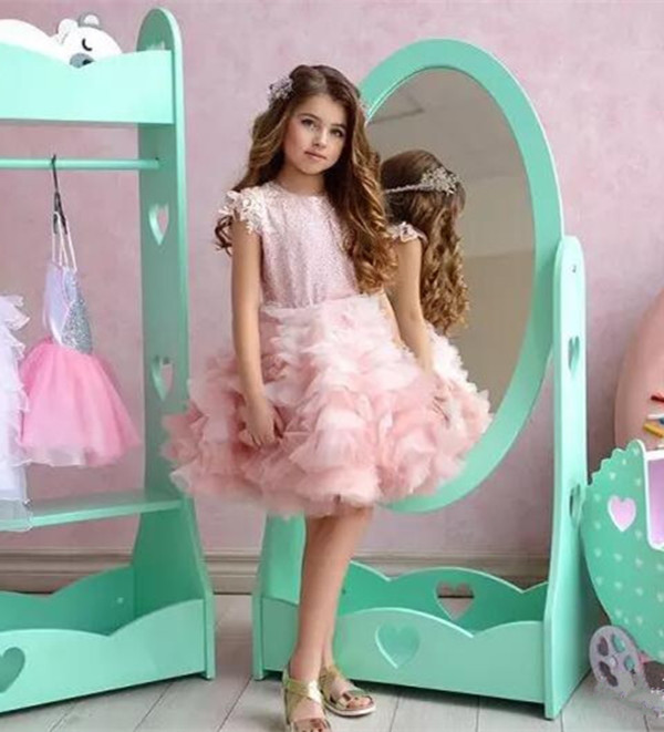 Ball Gown Flower Girl Dresses Sequins Ruched Tulle Girls Pageant Gowns Knee Length Girls Formal Dress Custom Made ruched knee length smock dress