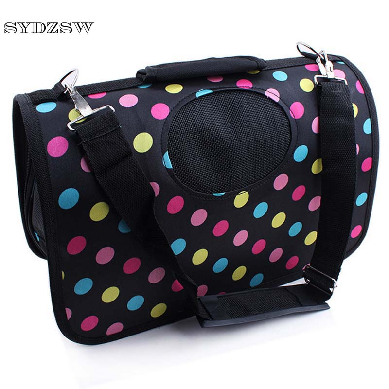 SYDZSW Pet Accessories New Dog Carrier Bags for Small Dogs Cats Colorful Dot Fashion Pet Travel Bag Chihuahua Cage Hard Oxford