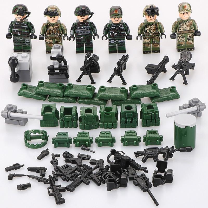 12Pcs DIY Mini Figure LegoINGS Military SWAT Police Building Block City Friend