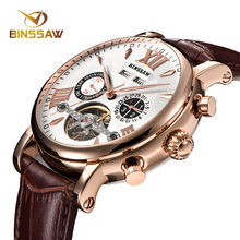 купить BINSSAW Men Luxury Brand Men Automatic Mechanical Watch Tourbillon Business Leather Man Calendar Watches relogio masculino дешево