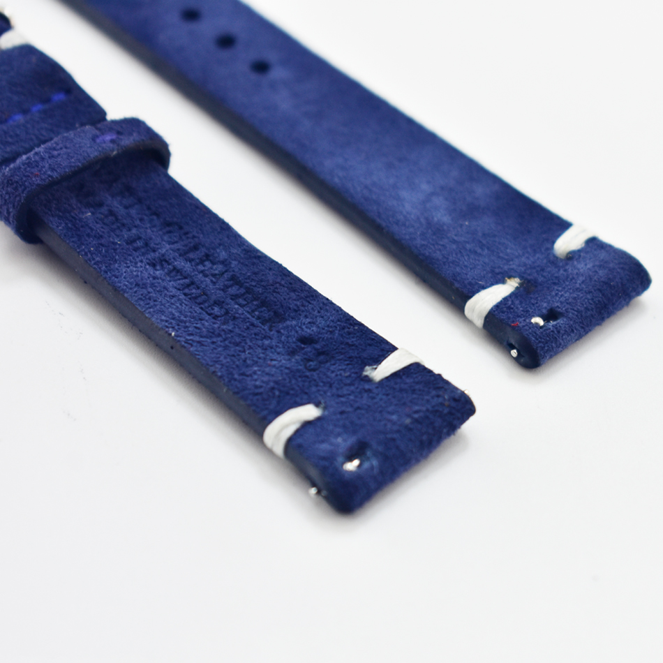 Men Watch Band Genuine Suede Leather Vintage Straps 18mm 20mm 22mm 24mm Watch Accessories High Quality Blue Watchbands KZSD13