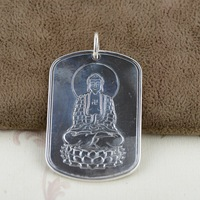 Silver wholesale S999 thousand fine silver antique style Buddha Buddha Heart sutra tags Male homescreen widget