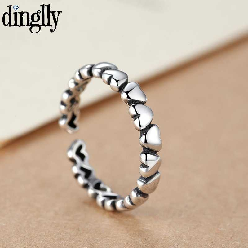 DINGLLY 925 Vintage Silver Heart แหวนผู้หญิงผู้ชายปรับขนาดได้ Knuckle เปิดแหวนคู่รักคู่รัก lover ชายหญิงแหวน