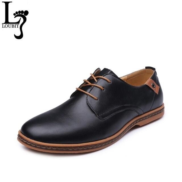 2017 Mùa Xuân Mùa Thu PU Leather Men Casual Giày Thời Trang Vòng Toe Ren-up Men Căn Hộ Thoải Mái Người Đàn Ông Giày Cộng Với kích thước 38-48