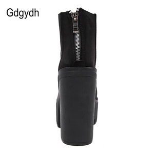 Image 3 - Gdgydh Fashion Black Ankle Boots For Women Thick Heels Spring Autumn Flock Platform Shoes High Heels Black Zipper Ladies Boots