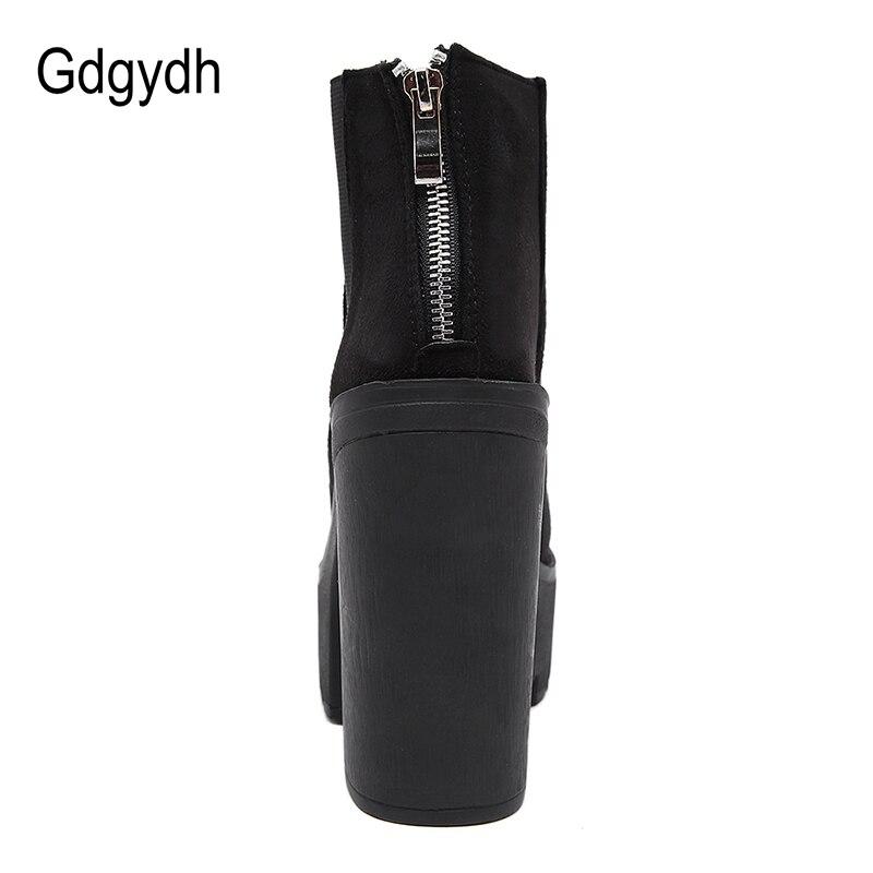 Gdgydh Mode Noir bottines Pour Femmes Épais Talons Printemps Automne Troupeau chaussures à semelles compensées talons hauts Noir Zipper Dames Bottes - 3