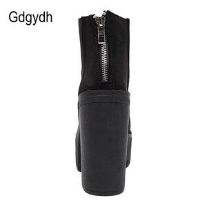 Image 3 - Gdgydh moda siyah yarım çizmeler kadınlar için kalın topuklu bahar sonbahar akın platformu yüksek topuklu ayakkabı siyah fermuar bayan botları