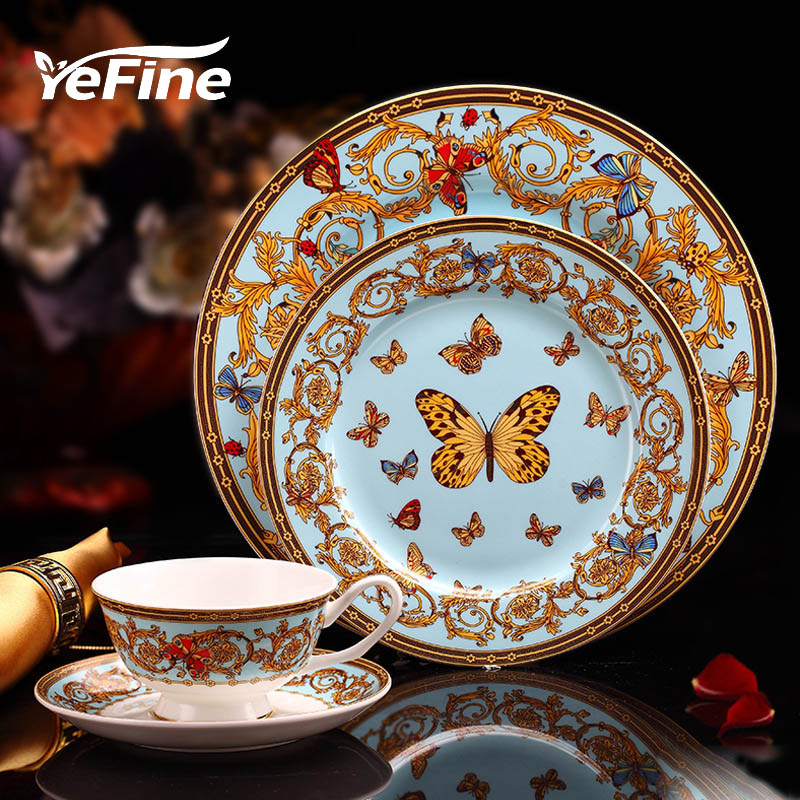YeFine Bone Porcelain Tableware Luxury England Bone China Dinnerware <font><b>Set</b></font> Beautiful Dinner Plates <font><b>Set</b></font> With Tea Cups Coffee Mugs