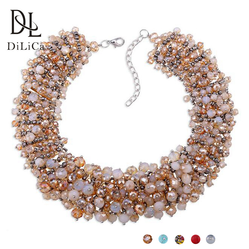 DiLiCa Handmade Bib Statement Necklace Fashion Crystal Beads Chokers Collar Necklace Women Charms Choker Necklaces Jewelry vintage bib rhinestone crystal statement choker necklace for women
