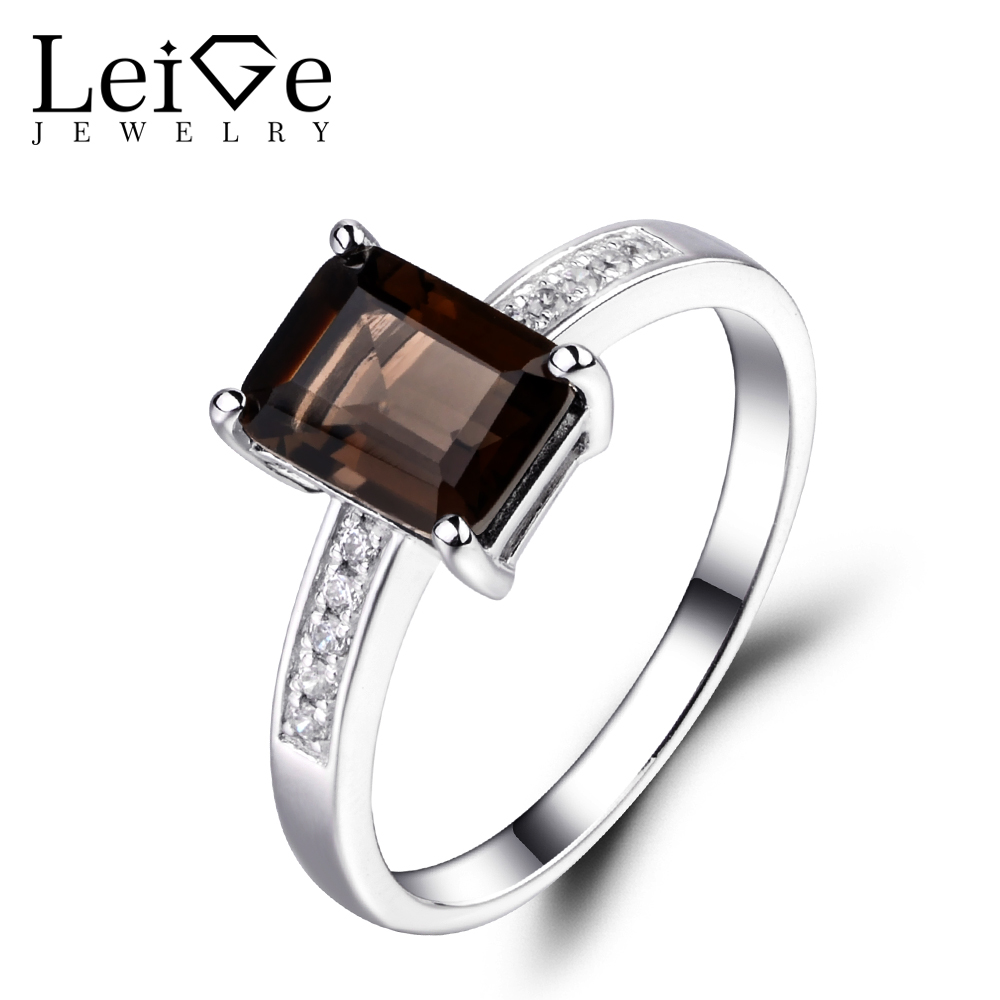 Leige Jewelry Natural Smoky Quartz Ring Sterling Silver 925 Fine Jewelry Emerald Cut Wedding Engagement Rings for WomenLeige Jewelry Natural Smoky Quartz Ring Sterling Silver 925 Fine Jewelry Emerald Cut Wedding Engagement Rings for Women