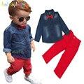 2 UNIDS/3-8Years/Primavera Otoño Bebé Boutique de la Ropa de Los Niños Traje de Caballero de Moda Denim Shirt + Pants Ropa de los niños BC1398