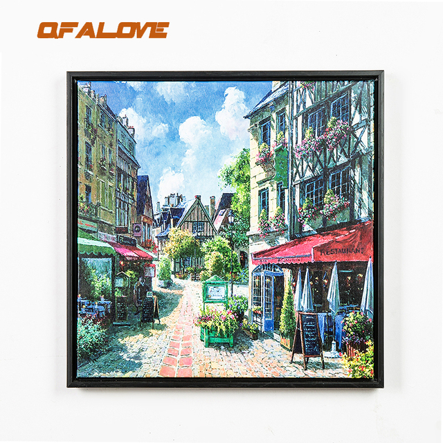 QFALOVE New Modern Landscape Framed Canvas Painting Black PS Street ...