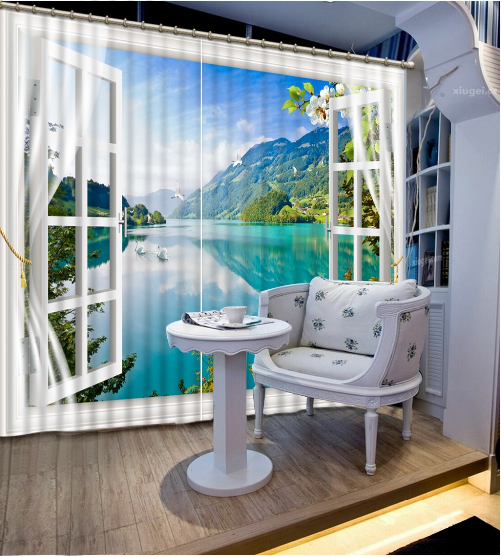 3D Curtains home windows Decorative Lake surface 3D Curtains For Bedding room Hotel window Blackout Curtains        3D Curtains home windows Decorative Lake surface 3D Curtains For Bedding room Hotel window Blackout Curtains