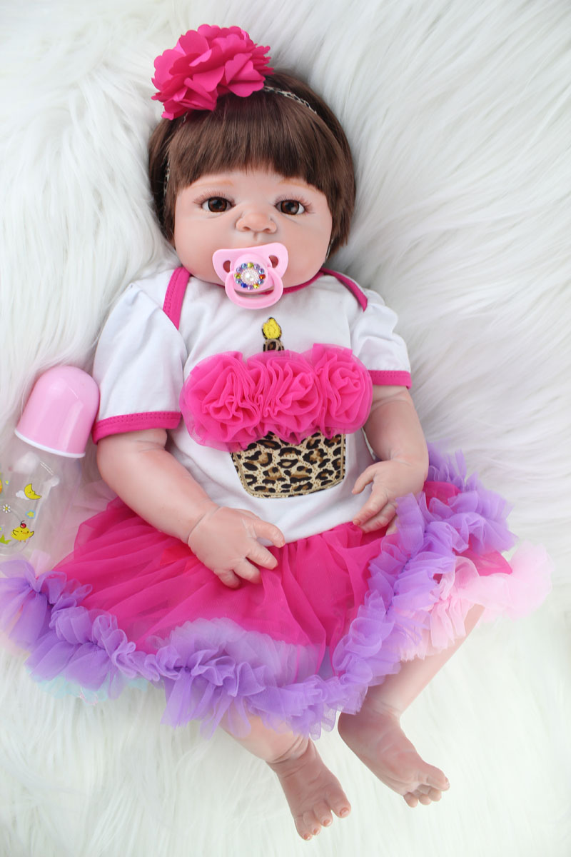 55cm Full Silicone Reborn Baby Girl Doll Toys Lifelike Princess  Newborn Toddler Babies Dolls Lovely Birthday Gift Bathe Toy 55cm full silicone reborn baby doll toy real touch newborn princess toddler babies alive bebe doll with pacifier girl bonecas