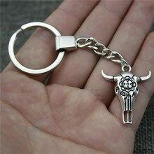Ngau Tau Keyring Keychain 31x26mm Antique Silver Key Chain Souvenir Gifts For Men