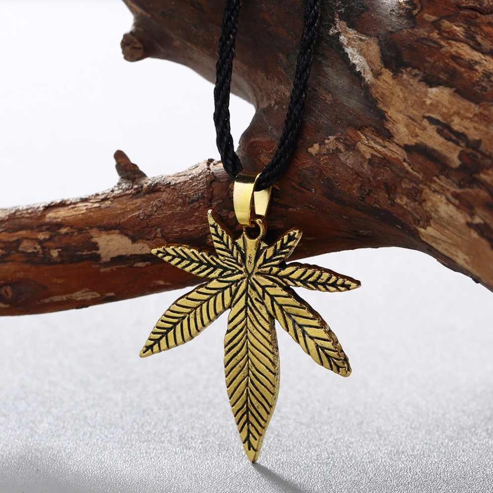 QIMING duży konopi Fimble liść naszyjnik antyczny brąz kolor Maple Leaf Hip Hop indyjska biżuteria mężczyźni kobiety stary naszyjnik prezent