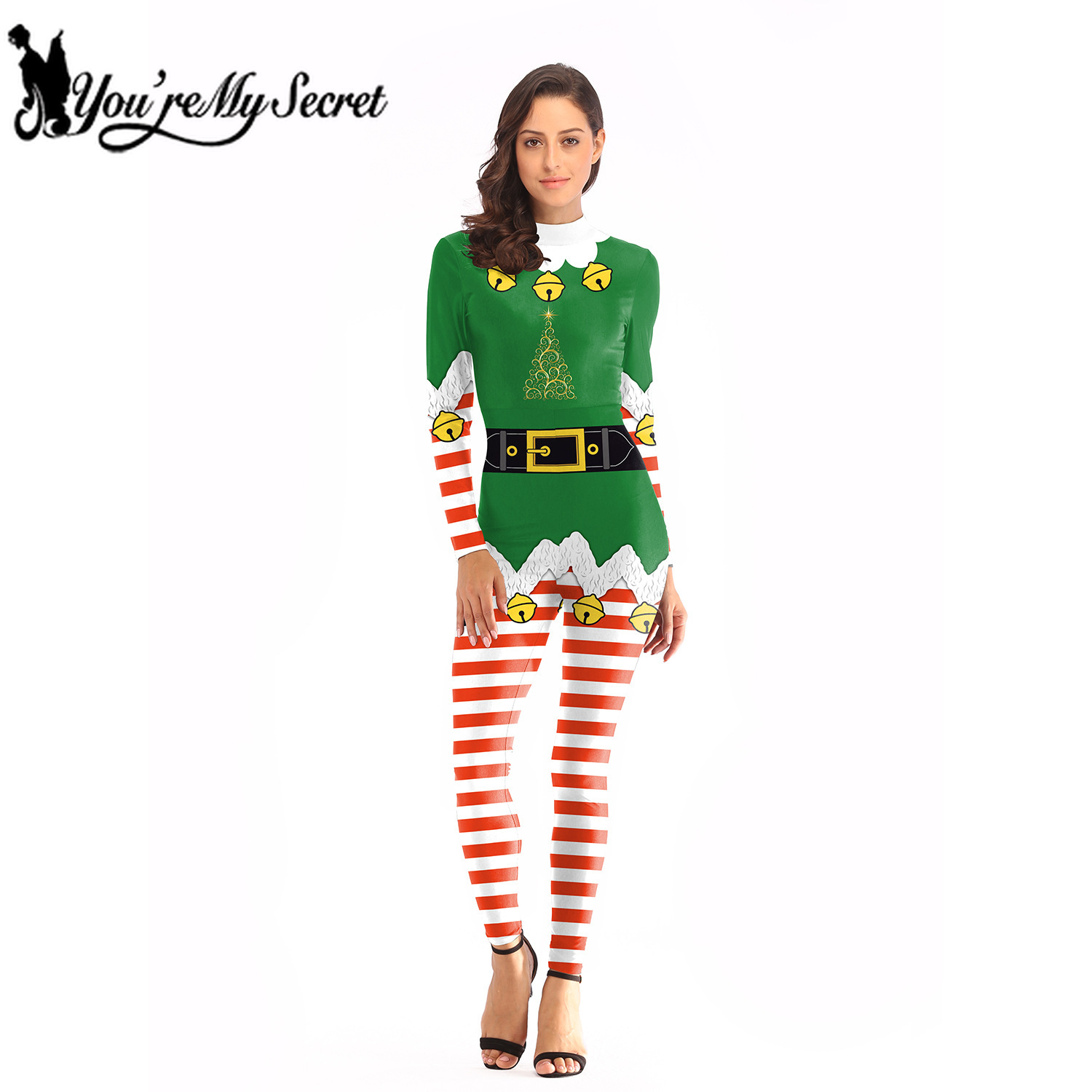 [You're My Secret] 2019 Christmas Fashion Holiday Party Women's Jumpsuit Adult Slim Elastic Bodysuit with Back Invisible Zipper